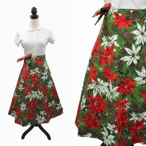 VTG 50 60s Floral Poinsettia Christmas Wrap Skirt